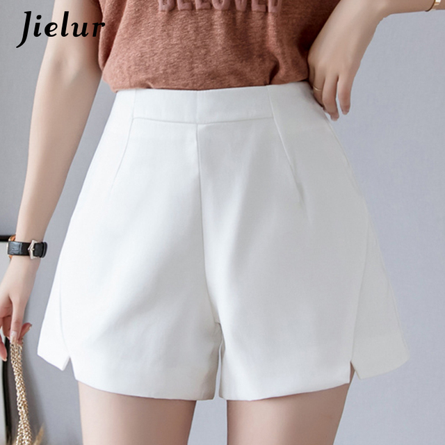 Jielur Women Summer Shorts New Short Feminino High Waist Shorts 2019 Solid Color Wed Leg Kpop Chic Fashion Shorts Women S-XL