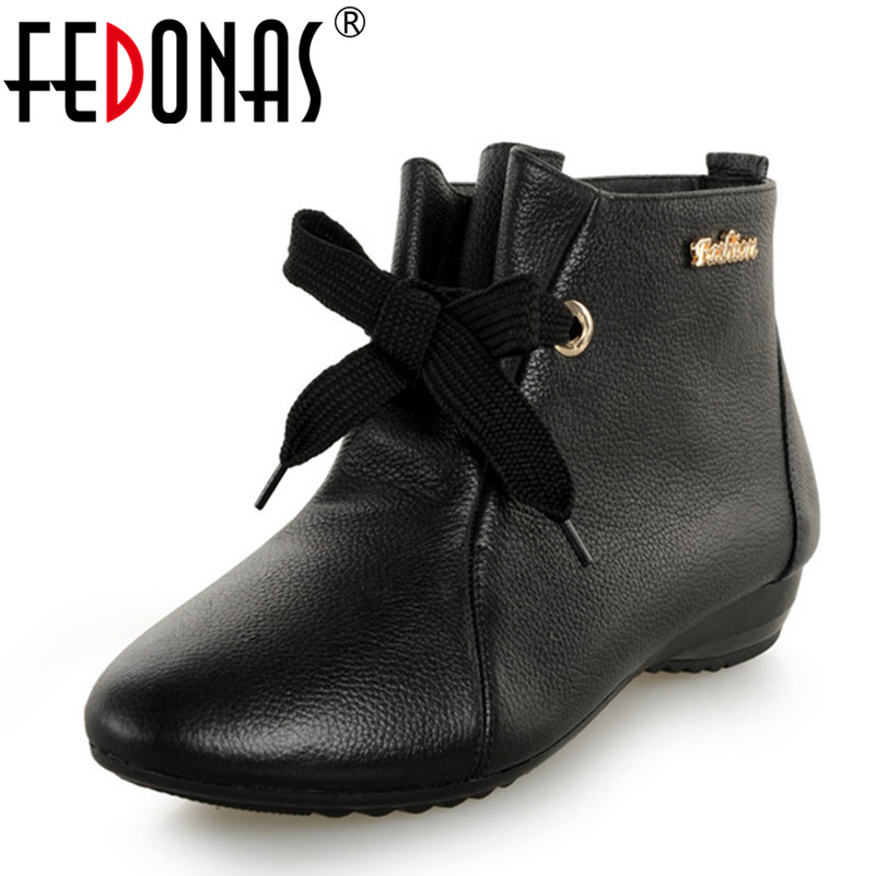 FEDONAS Fashion Women Genuine Leather Boots Autumn Winter Wedges Heels Ankle Boots Ladies Shoes Woman Soft Short Martin Boots 2017 fashion autumn genuine leather red women boots winter black flat martin solid ladies shoes woman boots zapatos mujer 1406n