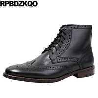 Ankle High Quality Full Grain Leather Top Pointed Toe Short Lace Up Wingtip Retro Designer Shoes Men Booties Black Brogue Boots