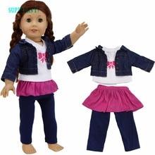 Высокое качество джинсовая одежда с длинным рукавом куртка + футболка + мини-платье розовая юбка + Pantalones Pantalon одежда для американская девушка Кукла Jouets