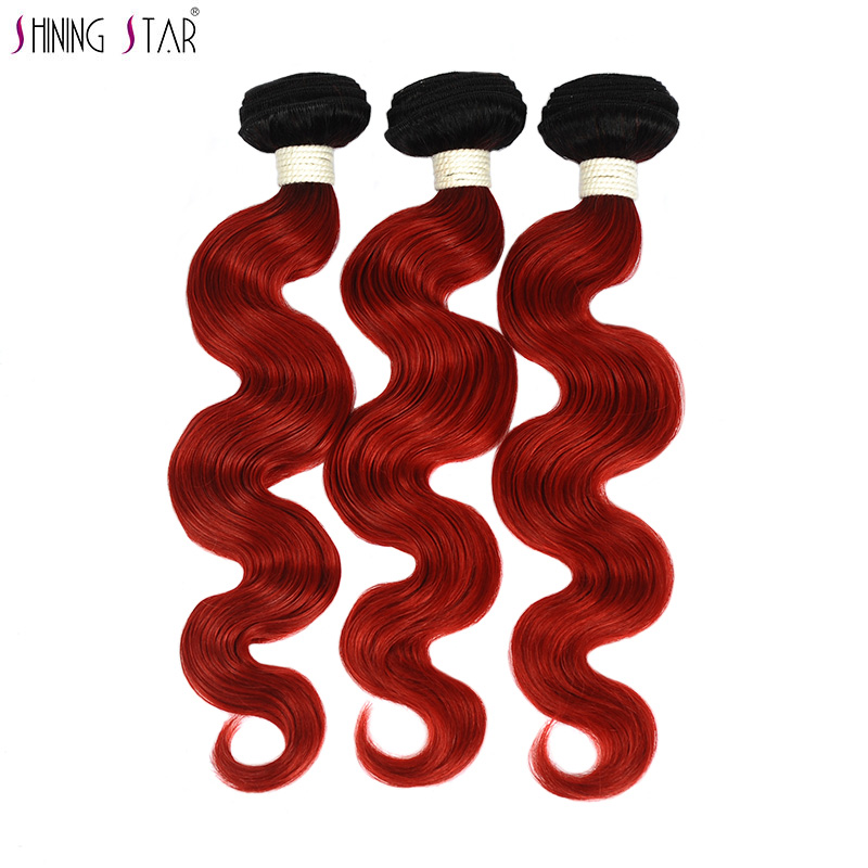 Shining Star Pre Colored Brazilian Body Wave Bundles Ombre 1B Red Burgundy Bundles Human Hair Weave 1/3/4 Pcs Deals Nonremy Weft
