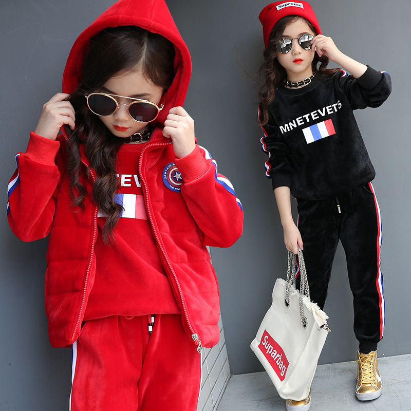 fashion 3 piece kids baby girls set clothes children's hoodie sets 2017 autumn winter warm thick new teenage girls sets clothing
