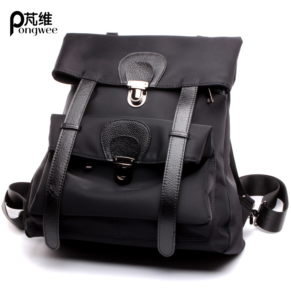 PONGWEE Brand Designer Female Backpack Women High Quality Genuine Leather Backpack American Fashion BagPack