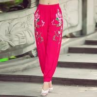 2019 Women Fashion New Cotton Linen Harem Pants Casual Elastic Waist Full length Pants Floral Embroidery Trousers
