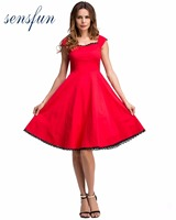 Sensfun Summer Dress Women Cotton Audrey Hepburn Robe Retro Rockabilly Dress Vintage Dress Pin Up Vestidos