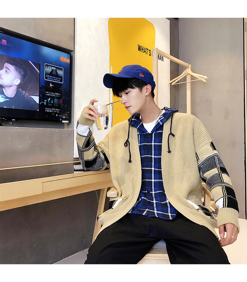 Korean Oversized Sweater Cardigan Men Plaid (7)