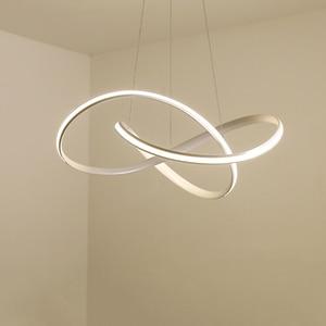 Image 1 - Modern led Chandelier for Kitchen Dining Room Living Room Suspension luminaire Hanging White Black Bedroom Chandeliers Fixtures