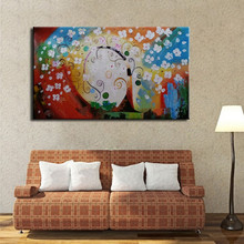 HandPainted Knife colorful flower tree Oil Painting On Canvas 3d Palette For Living Room hotel home decoration Picture