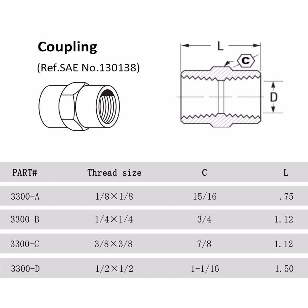 small resolution of 3300 2pcs brass copper hose pipe fitting hex coupling coupler fast connetor with npt female thread 1 8 1 4 3 8 1 2 in pipe fittings from home