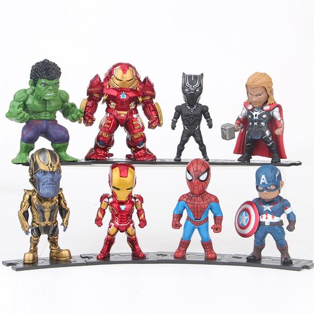 8 pçs/set Marvel Avengers Hulkbuster Thanos Ironman Thor Homem Aranha Capitão América Hulk Preto Pantera Figura Modelo Brinquedos