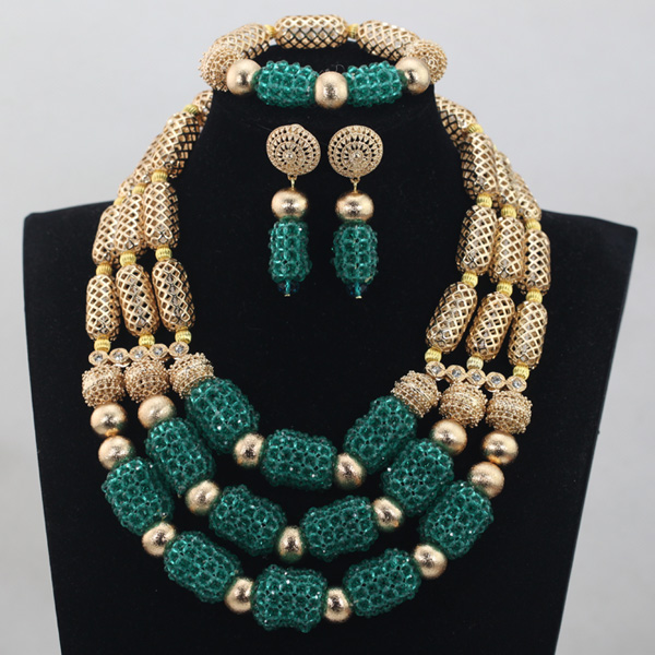 Splendid Teal Green Women Gold Jewelry Set Wedding African Beads Jewelry Set Statement Necklace Set Free Shipping WD811 : 91lifestyle