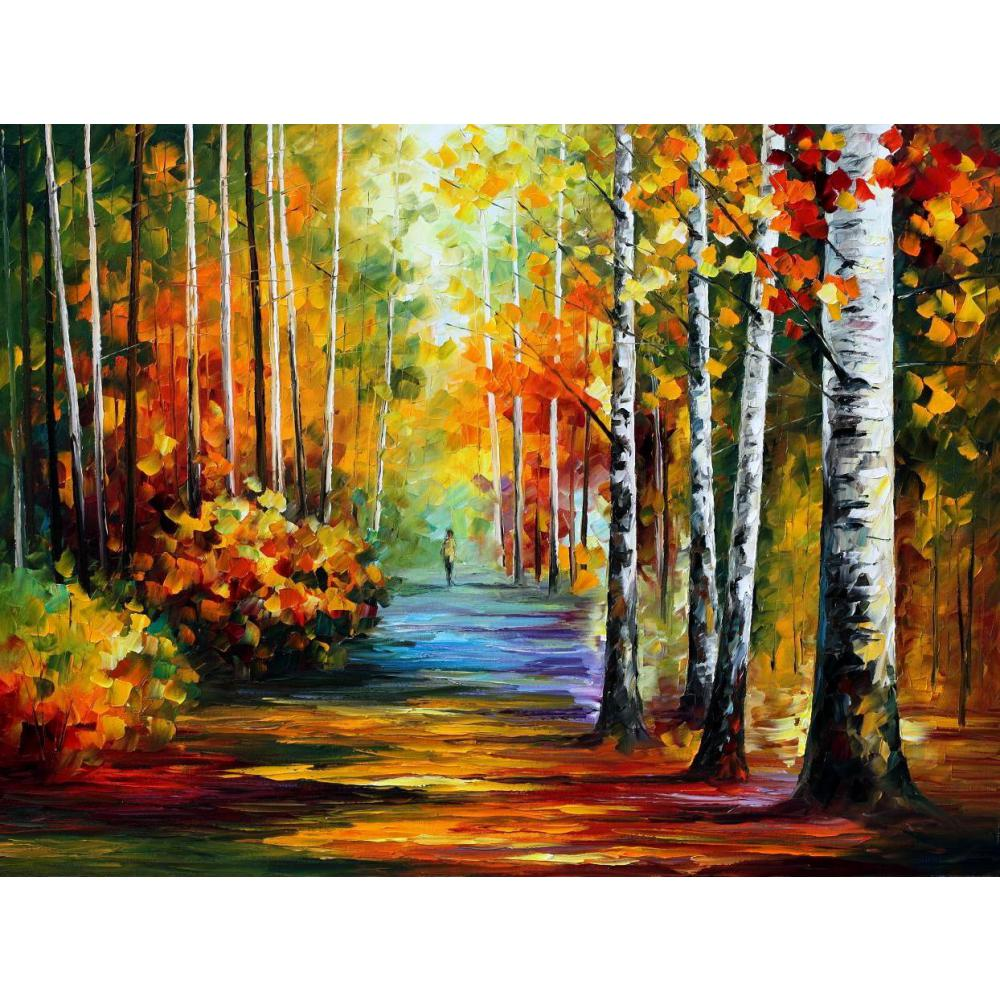 Beautiful landscape paintings forest road palette knife - Landscape paintings for living room ...