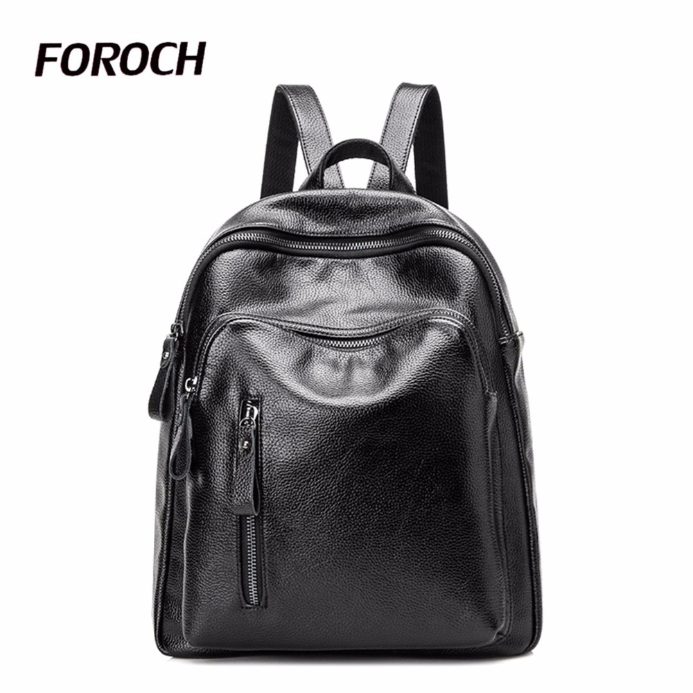 FOROCH 2017 Fashion Women Backpack Genuine Cow Leather Backpacks for Teenage Girls Female School Shoulder Bag Bagpack mochila 5 angel voices fashion women backpack youth genuine leather backpacks for teenage girls female school shoulder bag bagpack mochila