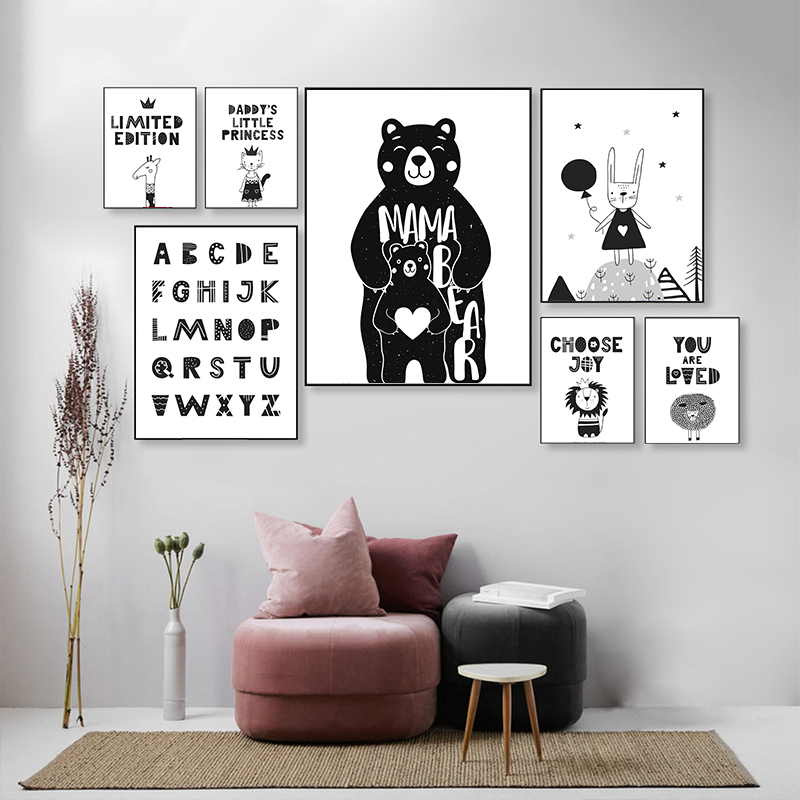 Black Bear Letter Canvas Painting Poster Wall Art Print