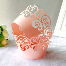12pcs/lot Little Vine Lace Laser Cut Cupcake Wrapper Liner Baking Cup Hollow Paper Cake Cup DIY Baking Fondant Cupcake Birthday(China)