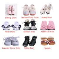 ZWSISU zapatos de muñeca 9 estilos zapatillas de patinaje zapatos de montar Arco Iris botas para muñeca americana de 18 pulgadas y muñeca de 43 Cm para generación
