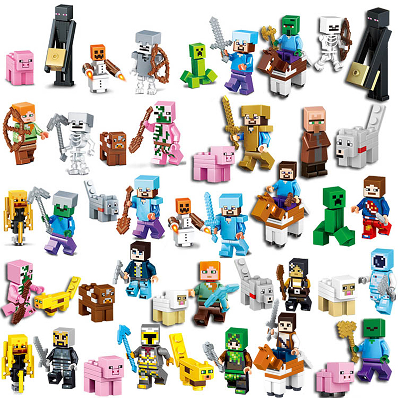 2018 HOT Compatible LegoINGlys Minecrafted Steve Alex Villager Zombie Enderman Minifigure My World Building Blocks Sets Toys 4 in 1 my world legoelied steve alex zombie king of bam rock knight minecrafted minifigure building blocks bricks boy toy gift
