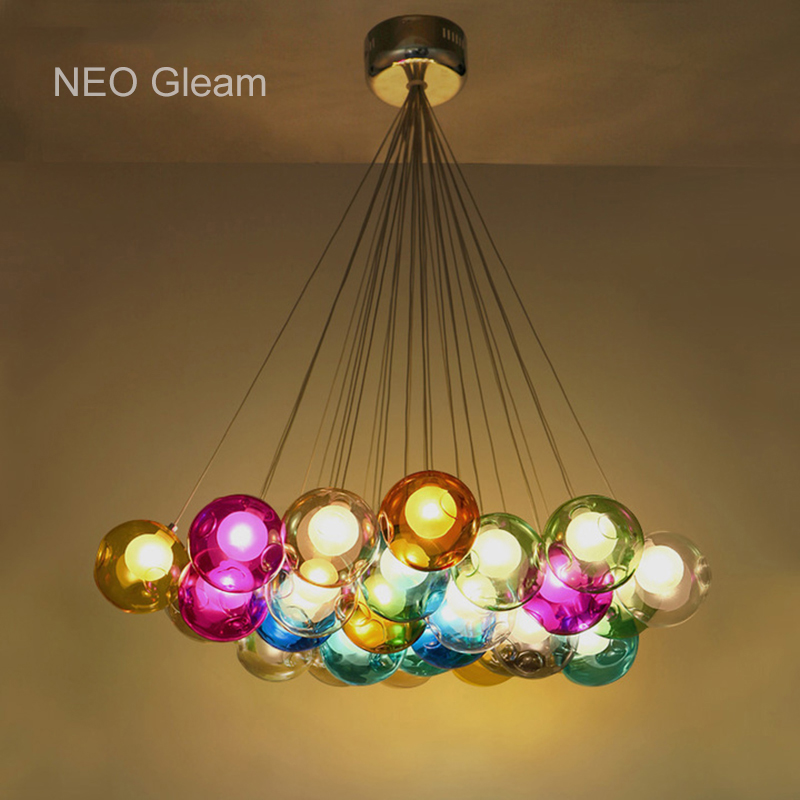 Creative design Modern LED colorful glass pendant lights lamps for