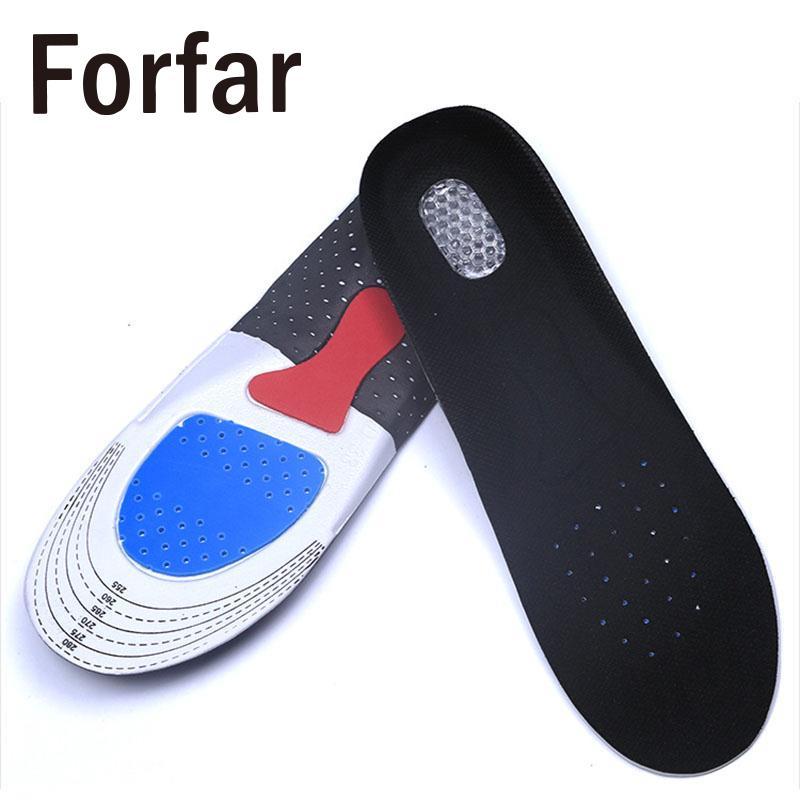 Forfar 1 Pair Soft Health Men Silicone Gel Orthotic Sport Insoles Insert Arch Cushion