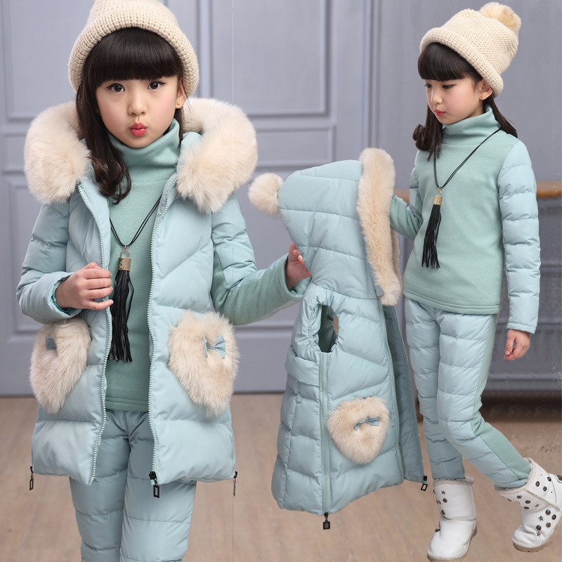 ФОТО Children Winter Clothing Set Ski Suit Girl Down Jacket Coat + Pants+High Collar Shirt Set 4-12Y Kids Clothes For Baby Girl 3PCS