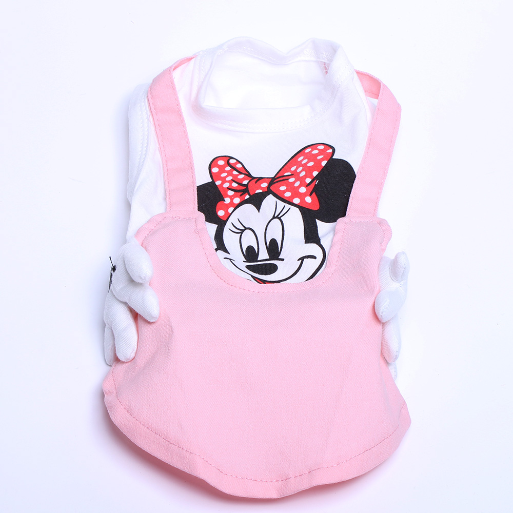 New arrival Dog Cat Strap Dress Shirt Mickey Design Pet Puppy Skirt Vest Summer Clothes 5 sizes 3 Colours