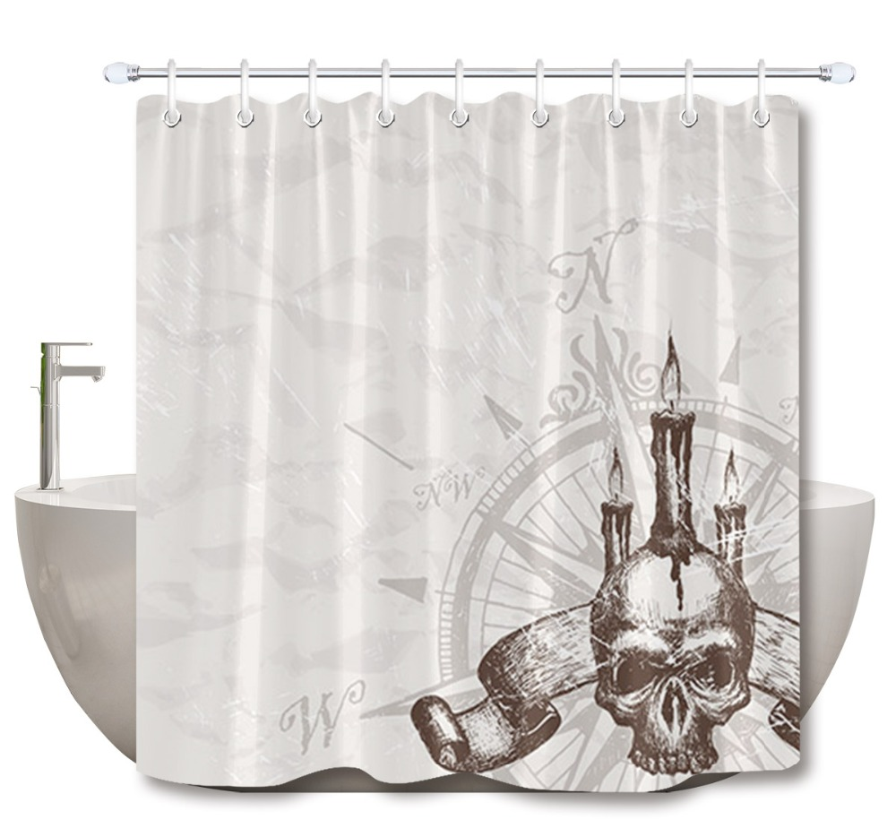 72 Bathroom Waterproof Fabric Shower Curtain 12 Hooks Bath Accessory Sets Skull Compass Pattern On Gray White Texture Backdrop