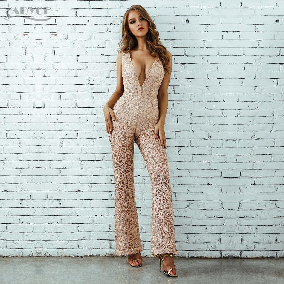 Deep V Neck Hollow Out Playsuit Bodycon Celebrity Party Jumpsuits 2