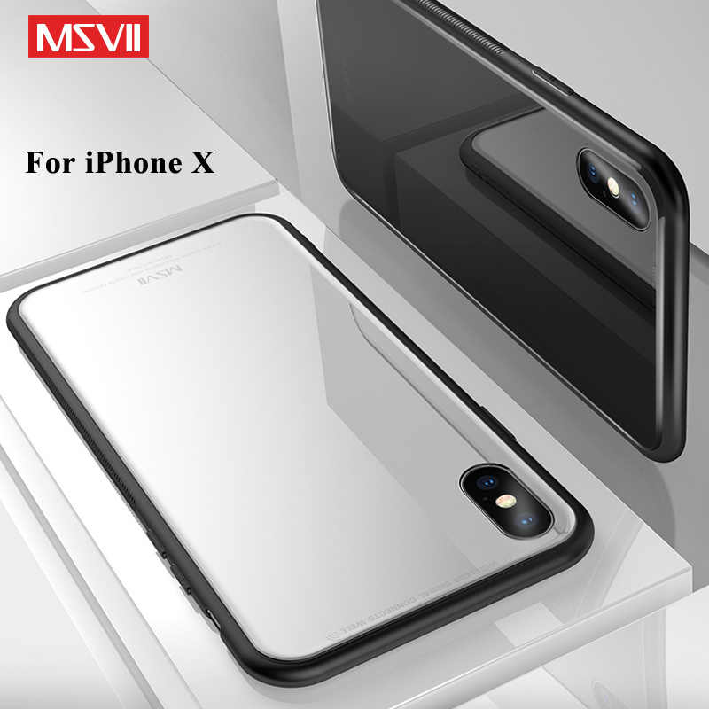 4b124e326e MSVII Cover For iPhone X Case Slim Luxury Coque For iPhone 10 Case Silicone  Frame +