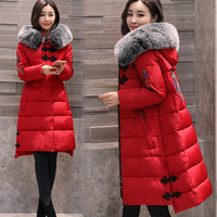 2018 fashion winter jacket women with Embroidery Thick cotton padded warm women coat real fur collar hooded outwear plus size