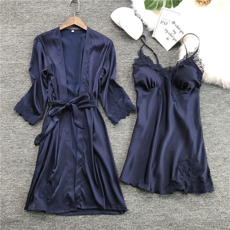 New Women Ladies Sexy Satin Silk Night Dress Bathrobe Nightgown Sets 2018 Kimono Lingerie Nightwear Sleepwear robe de nuit femme