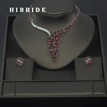 HIBRIDE Fashion New White Gold Color Fashion Top Quality Wedding Jewelry Sets, AAA CZ Bridal Earrings and Necklace Sets S030(China)