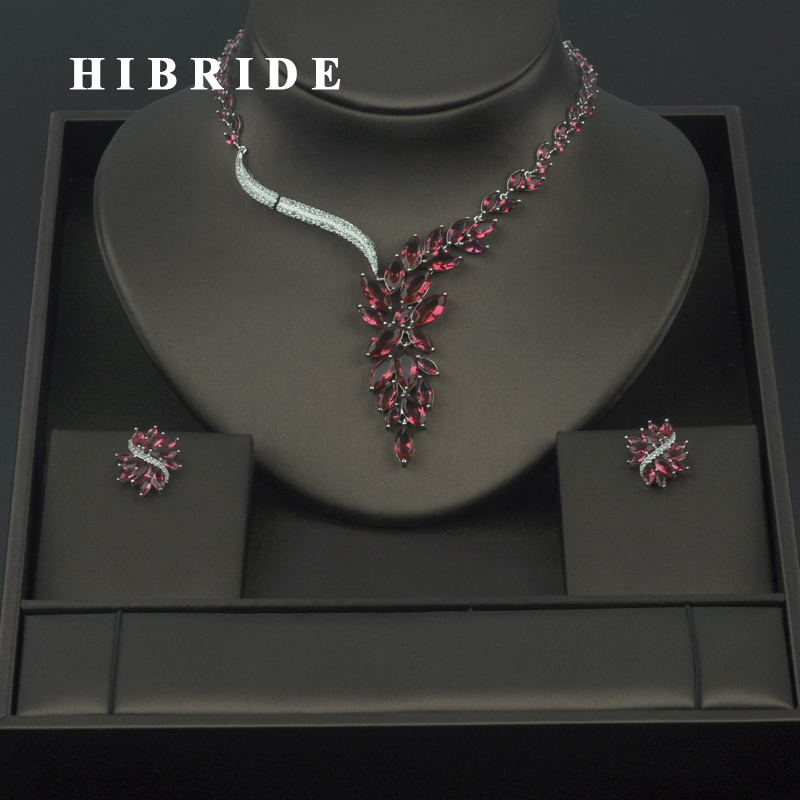 HIBRIDE Fashion New White Gold Color Fashion Top Quality Wedding Jewelry Sets, AAA CZ  Bridal Earrings and Necklace Sets S030HIBRIDE Fashion New White Gold Color Fashion Top Quality Wedding Jewelry Sets, AAA CZ  Bridal Earrings and Necklace Sets S030
