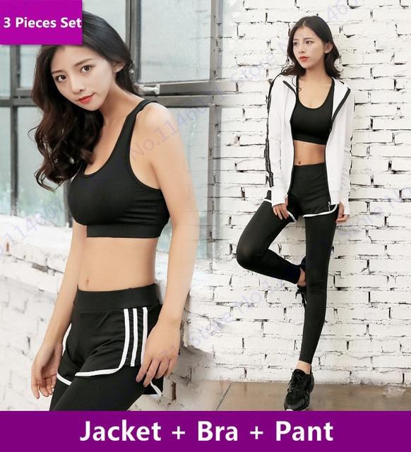 739b491854 White Yoga Set Black Sport Suits Women Fitness Gym Tracksuits Running  Jacket   Sports Bra   Slim Leggings 3 Pcs Dance Sportswear