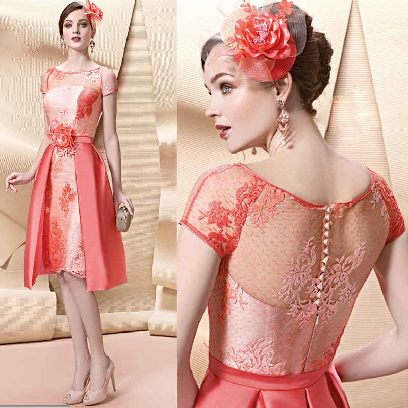 New-Arrival-Peach-lace-appliques-short-mother-of-the-bride-dresses-with-skirt-Knee-Length-robe