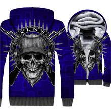 Blue Mechanical Skull Hoodies 2018 Hot Sale Sweatshirts Winter Thick Coat Male 3D Print Tracksuits Hip Hop Unisex Top