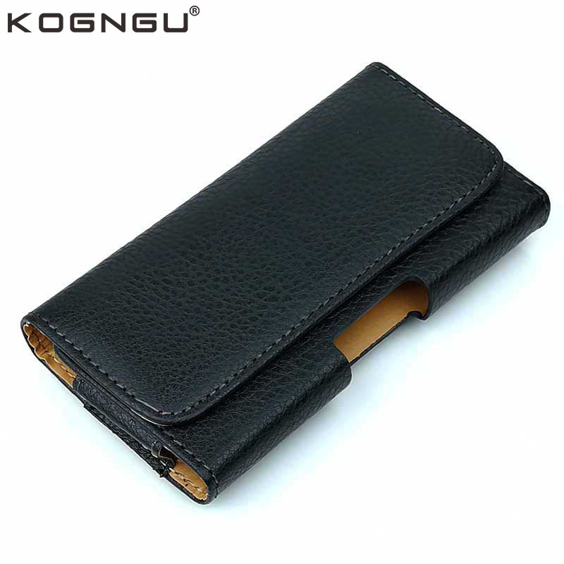 Kogngu for Philips E570 Leather Case PU Leather Belt Waist Bags Men Mobile Holder for Philips Xenium E570 Case Phone Accessories