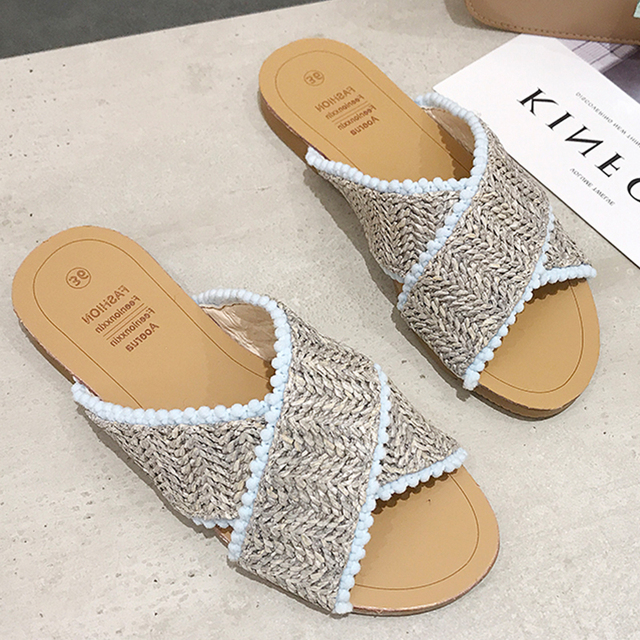 2019 Weave Slippers Women Summer Shoes Woman Casual Ladies Flat Home Indoor Slippers Slides Women flip flops pantufa tong femme 2