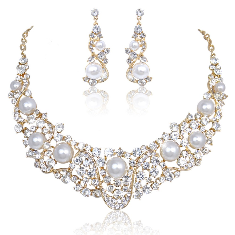 Bella Fashion Flower Bridal Necklace Earrings Set Austrian Crystal Wedding  Jewelry Set For Bridesmaid Women Party