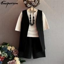 girls autumn clothes set 3 pcs causal white shirt & vest & wide pants suit for kids/children 3-7Y pink and black suit drop ship