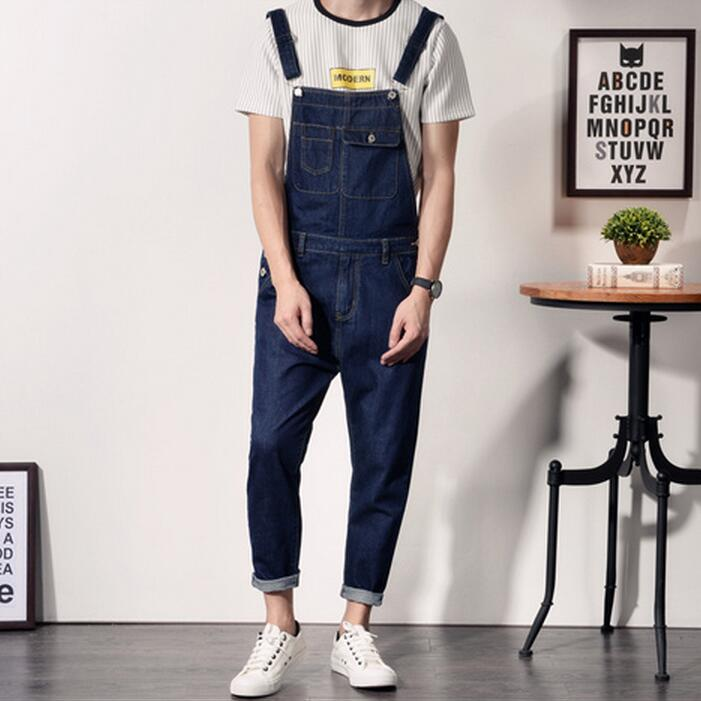 Korean Fashion Men Blue Denim Overalls New 2017 Mens Bib Jeans Male Overall Jeans With Suspenders Front Pockets men distressed denim overalls mens denim with suspenders new 2017 hole design washed male bib jeans