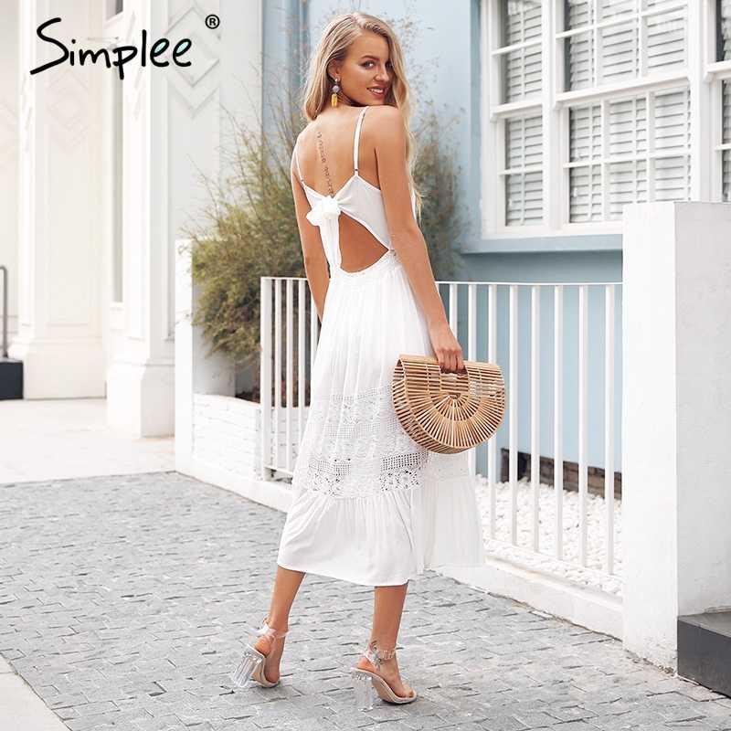 Simplee sangle évider blanc dentelle robe femmes Sexy dos nu noeud robe d'été longue Streetwear bouton décontracté robe vestidos 2018