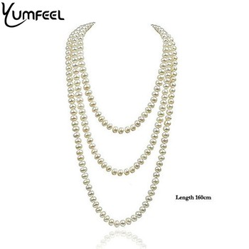 """Yumfeel 10-10.5mm Knotted Natural Freshwater Pearl Necklace 62"""" Best Gifts for Mother's Day Free Shipping"""