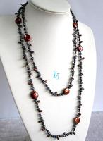 Charming Pearl Jewelry Set 49 inches 3 13mm Coffee Peacock Freshwater Pearl Long Necklace