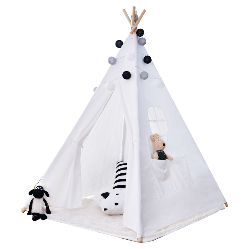 Childrens Tent Game House White Hairy Ball Baby Climbing Indian Tent Indoor Playhouse for Kids Portable Baby Beach TentChildrens Tent Game House White Hairy Ball Baby Climbing Indian Tent Indoor Playhouse for Kids Portable Baby Beach Tent
