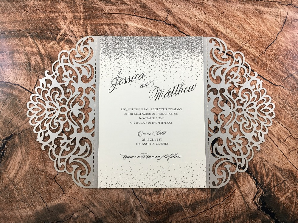 Elegant Monogram Wedding Invitations: 50pcs Personalized Laser Cut Elegant Silver Shimmery