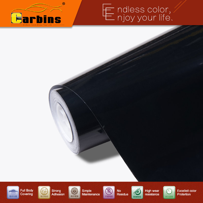 High glossy black car vinyl wrap sticker, air bubble free quality 3 layers with protection film 1.52*28m size high quality black glossy 2d carbon fiber vinyl air free bubble for vehicle wraps size 1 52 30m roll