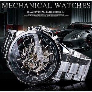 Image 2 - Мужские наручные часы Winner Sport, дизайнерские золотые часы с ободком, роскошные часы от топ бренда Montre Homme, Мужские автоматические часы в стиле стимпанк со скелетом