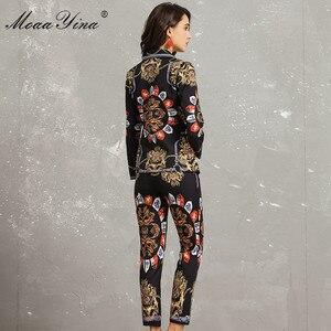 Image 5 - MoaaYina แฟชั่นชุดฤดูใบไม้ผลิฤดูใบไม้ร่วงผู้หญิงแขนยาว Vintage พิมพ์ชุดสูทหรูหรา + 3/4 กางเกงดินสอ 2 ชิ้น