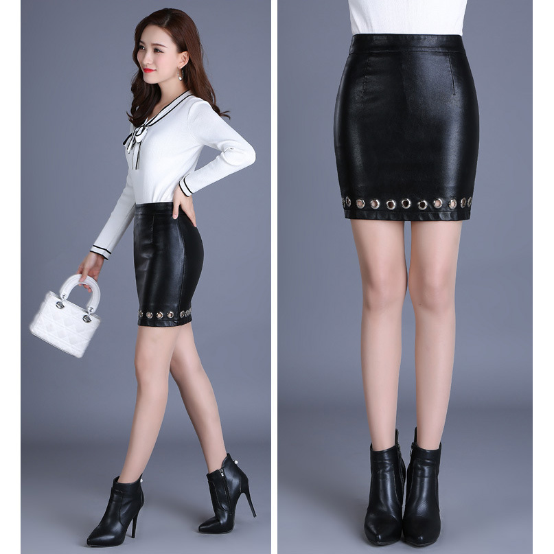 4XL Plus Size High Waist PU Faux Leather Skirt Package Hip Metal Hole <font><b>Sexy</b></font> Pencil Skirt Micro Mini Skirts Falda <font><b>Cuero</b></font> <font><b>Clubwear</b></font> image