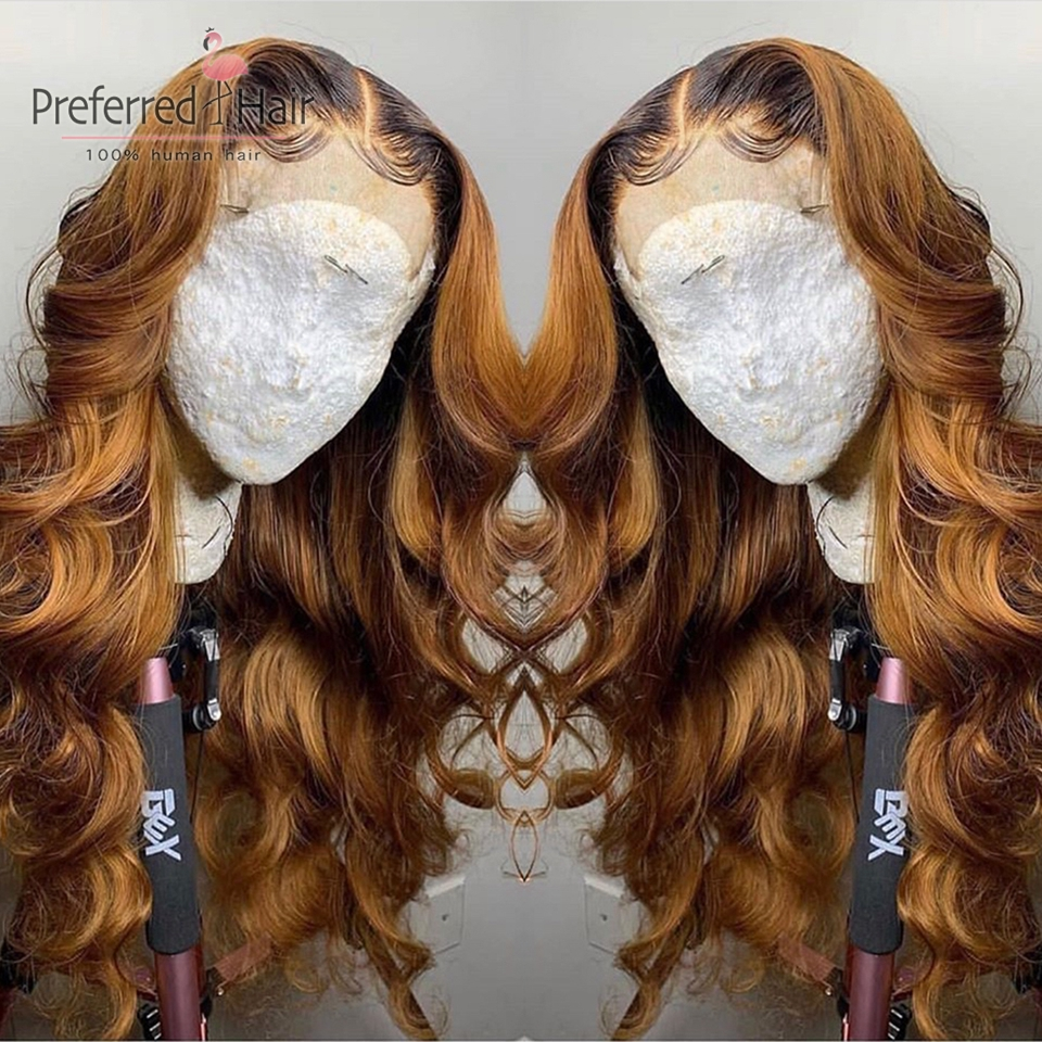 Preferred Ombre Human Hair Wig With Baby Hair Preplucked 360 Lace Frontal Wig 150 Density Glueless Remy Brazilian Wigs For Women